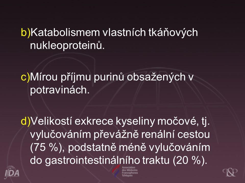 b)Katabolismem vlastních tkáňových nukleoproteinů. c)Mírou příjmu purinů obsažených v potravinách. d)Velikostí exkrece kyseliny močové, tj. vylučování