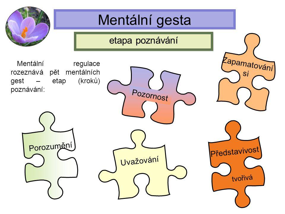 Mentální gesta Mentální regulace rozeznává pět mentálních gest – etap (kroků) poznávání: Pozornost Zapamatování si Porozumění Uvažování etapa poznáván
