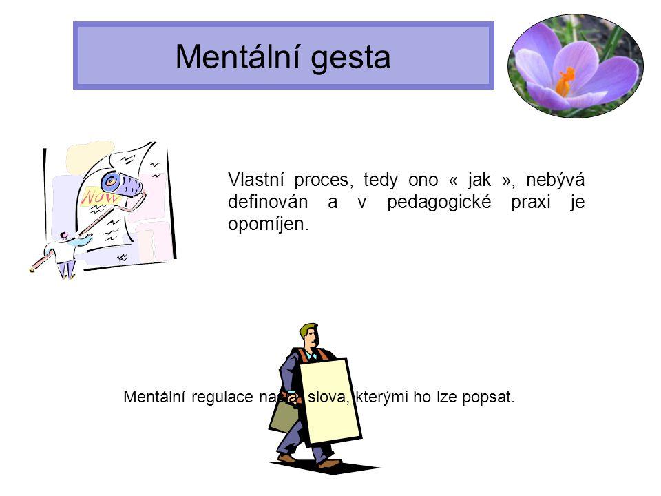 Mentální gesta Pokud jsou jednotlivé etapy popsány, (charakterizovány,definovány), pedagog je může využívat při práci se studenty a může jim lépe vysvětlit vše, co musí dělat, aby tyto kroky úspěšně a samostatně v budoucnu prováděli.