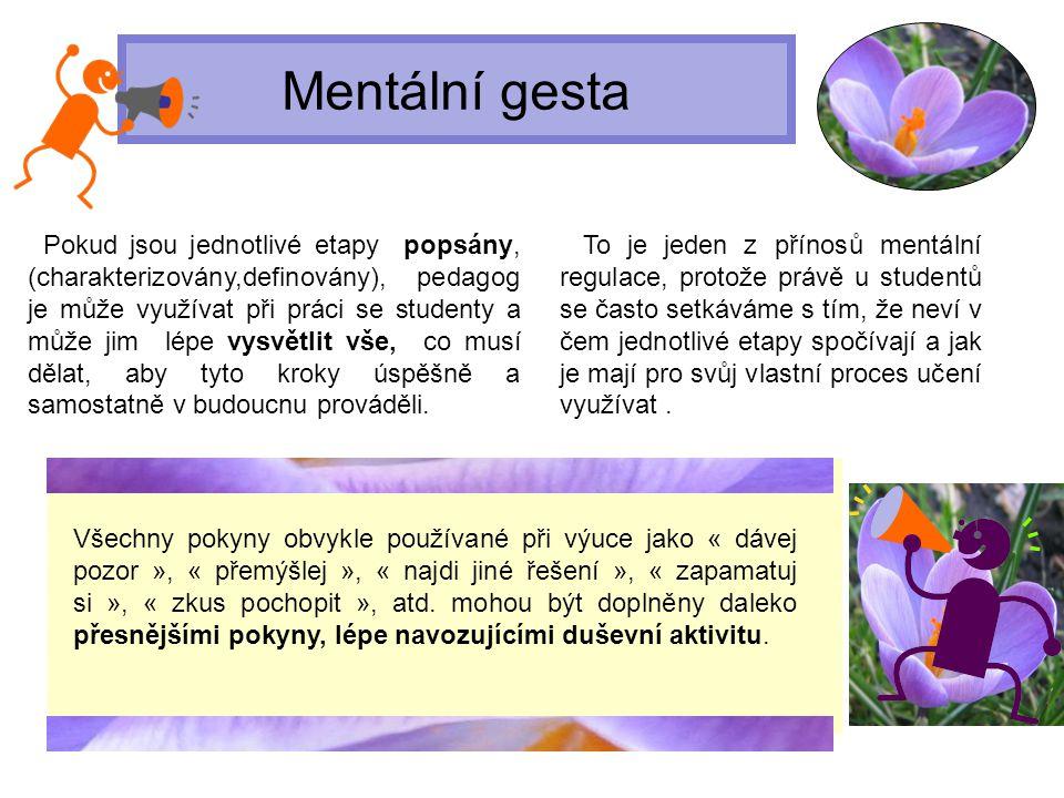 Mentální gesta Pokud jsou jednotlivé etapy popsány, (charakterizovány,definovány), pedagog je může využívat při práci se studenty a může jim lépe vysv
