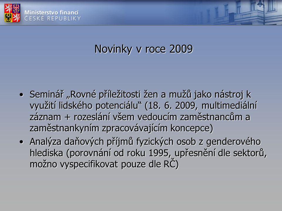 """Novinky v roce 2009 •Seminář """"Rovné příležitosti žen a mužů jako nástroj k využití lidského potenciálu"""" (18. 6. 2009, multimediální záznam + rozeslání"""