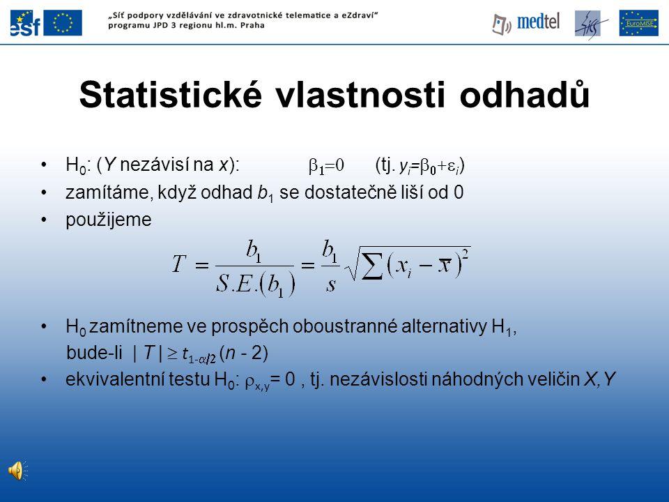 Statistické vlastnosti odhadů •H 0 : (Y nezávisí na x):    (tj. y i =   +  i ) •zamítáme, když odhad b 1 se dostatečně liší od 0 •použijeme •H