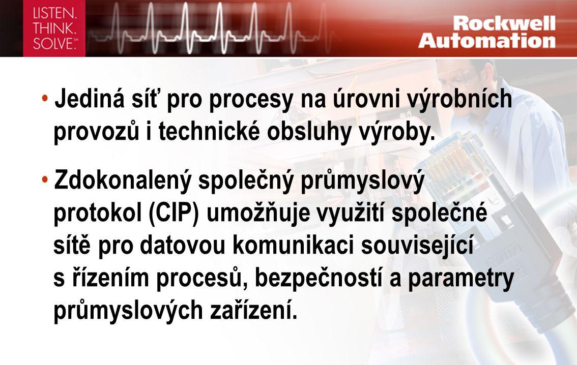 • Jediná síť pro procesy na úrovni výrobních provozů i technické obsluhy výroby. • Zdokonalený společný průmyslový protokol (CIP) umožňuje využití spo