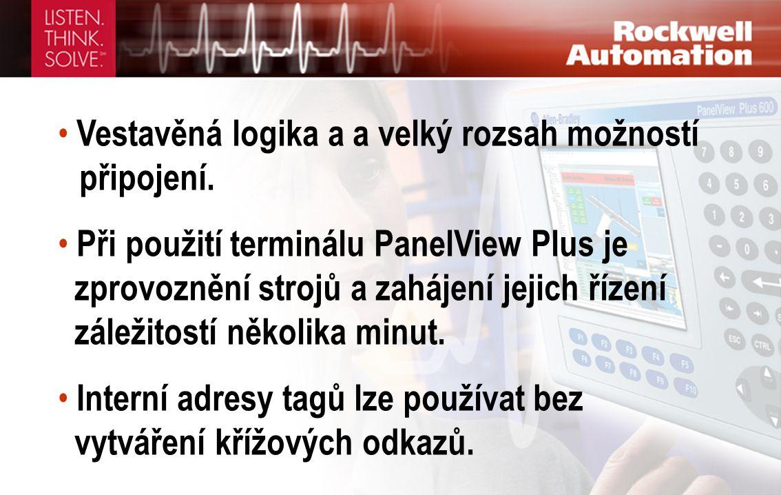 • Vestavěná logika a a velký rozsah možností připojení. • Při použití terminálu PanelView Plus je zprovoznění strojů a zahájení jejich řízení záležito