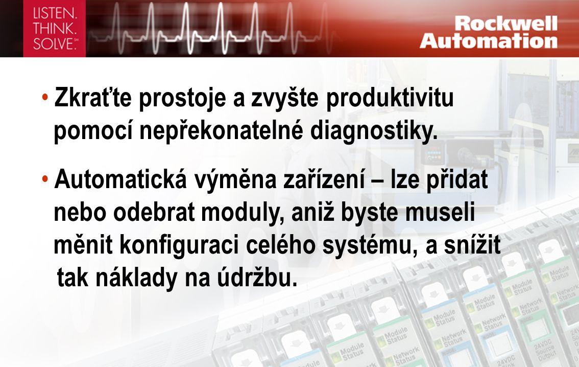 • Zkraťte prostoje a zvyšte produktivitu pomocí nepřekonatelné diagnostiky. • Automatická výměna zařízení – lze přidat nebo odebrat moduly, aniž byste