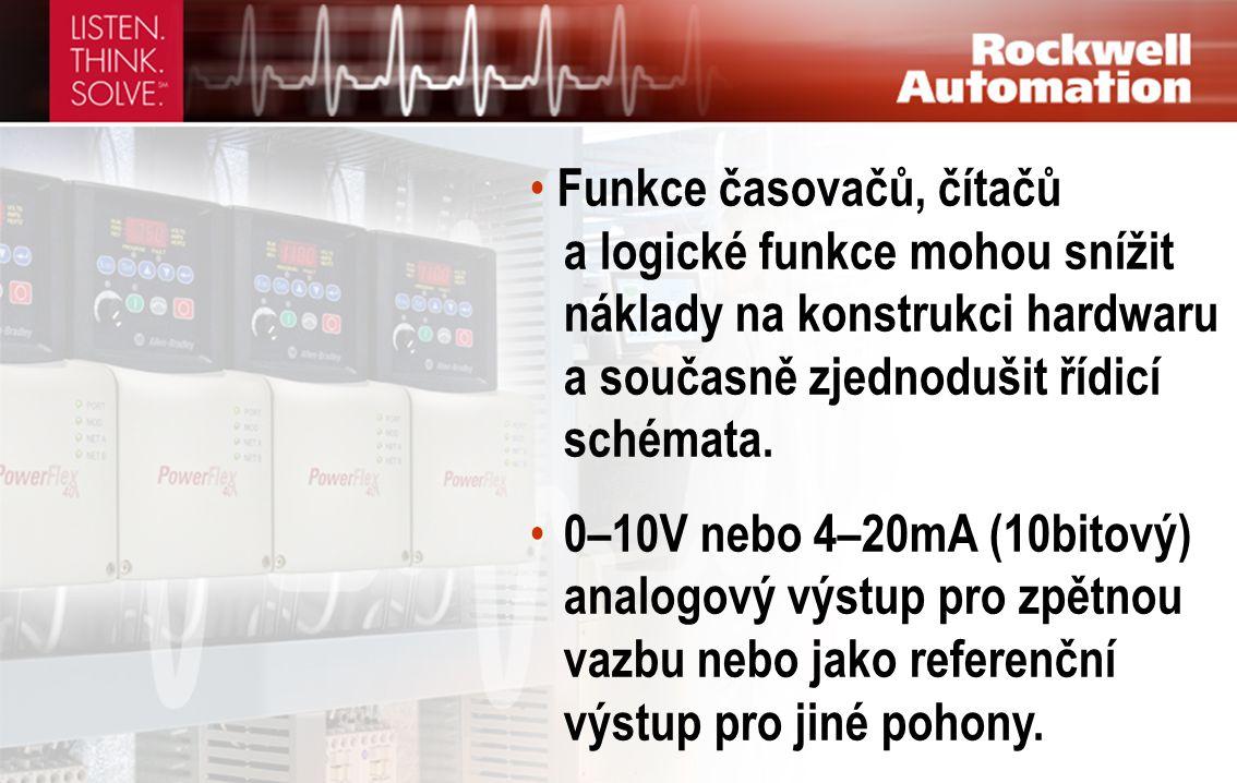 • Funkce časovačů, čítačů a logické funkce mohou snížit náklady na konstrukci hardwaru a současně zjednodušit řídicí schémata. • 0–10V nebo 4–20mA (10
