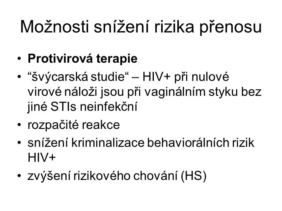 """Možnosti snížení rizika přenosu •Protivirová terapie •""""švýcarská studie"""" – HIV+ při nulové virové náloži jsou při vaginálním styku bez jiné STIs neinf"""