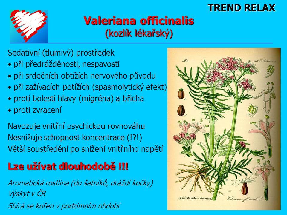 TREND RELAX Valeriana officinalis (kozlík lékařský) Sedativní (tlumivý) prostředek • při předrážděnosti, nespavosti • při srdečních obtížích nervového