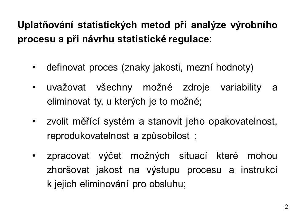 2 Uplatňování statistických metod při analýze výrobního procesu a při návrhu statistické regulace: • definovat proces (znaky jakosti, mezní hodnoty) •