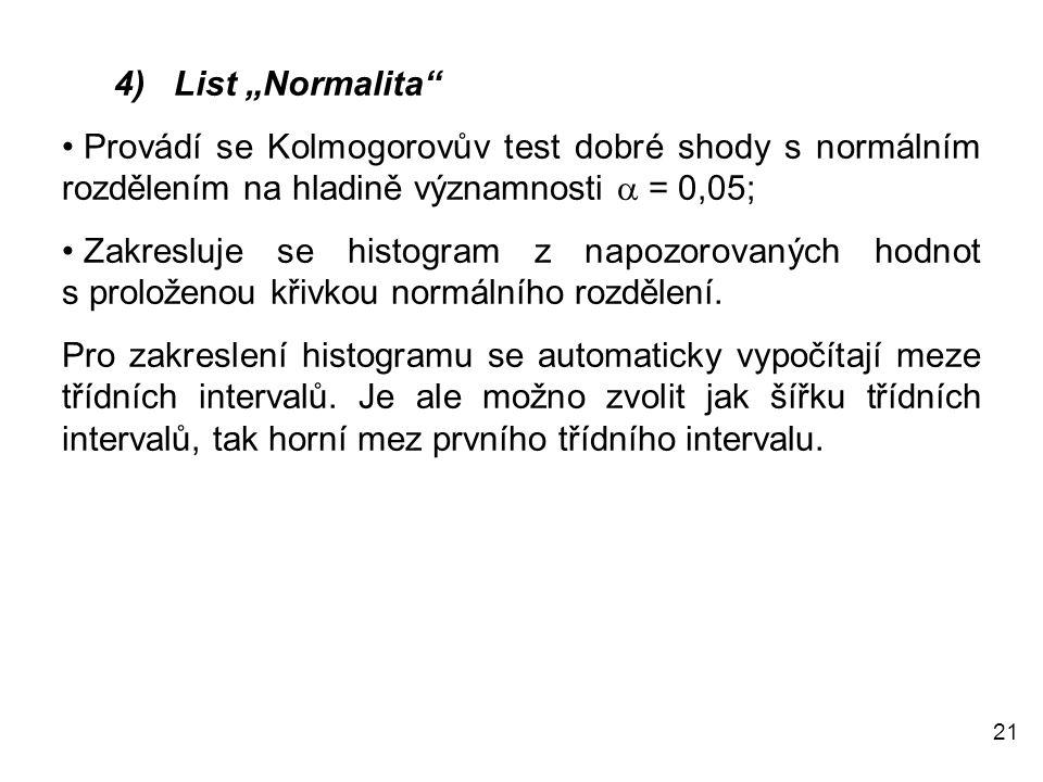 """21 4) List """"Normalita"""" • Provádí se Kolmogorovův test dobré shody s normálním rozdělením na hladině významnosti  = 0,05; • Zakresluje se histogram z"""