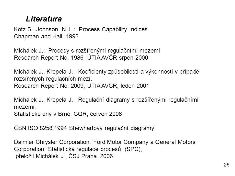 26 Literatura Kotz S., Johnson N. L.: Process Capability Indices. Chapman and Hall 1993 Michálek J.: Procesy s rozšířenými regulačními mezemi Research