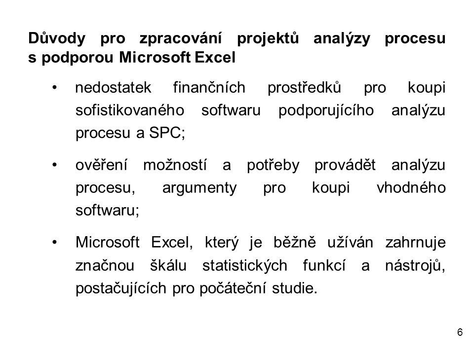 7 Šablony pro analýzu dat Pro úvodní analýzu procesu, vyhodnocení předpokladů pro stanovení způsobilosti a výkonnosti procesu a uplatnění statistické regulace byly vypracovány šablony zahrnující pět pracovních listů.