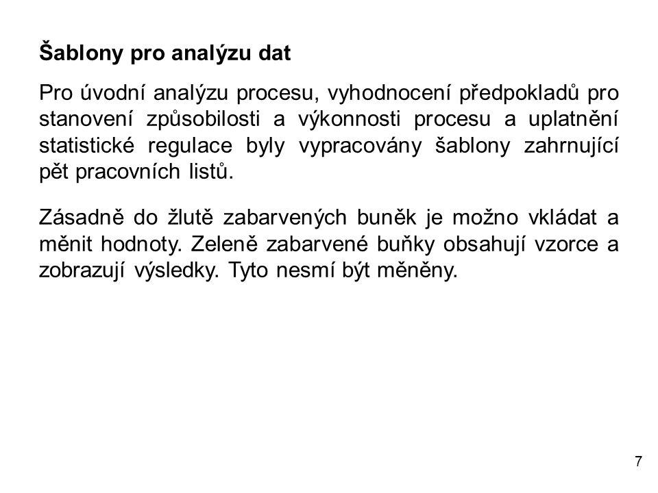 7 Šablony pro analýzu dat Pro úvodní analýzu procesu, vyhodnocení předpokladů pro stanovení způsobilosti a výkonnosti procesu a uplatnění statistické