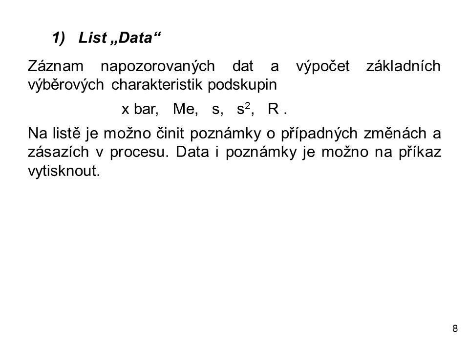 """8 1) List """"Data"""" Záznam napozorovaných dat a výpočet základních výběrových charakteristik podskupin x bar, Me, s, s 2, R. Na listě je možno činit pozn"""