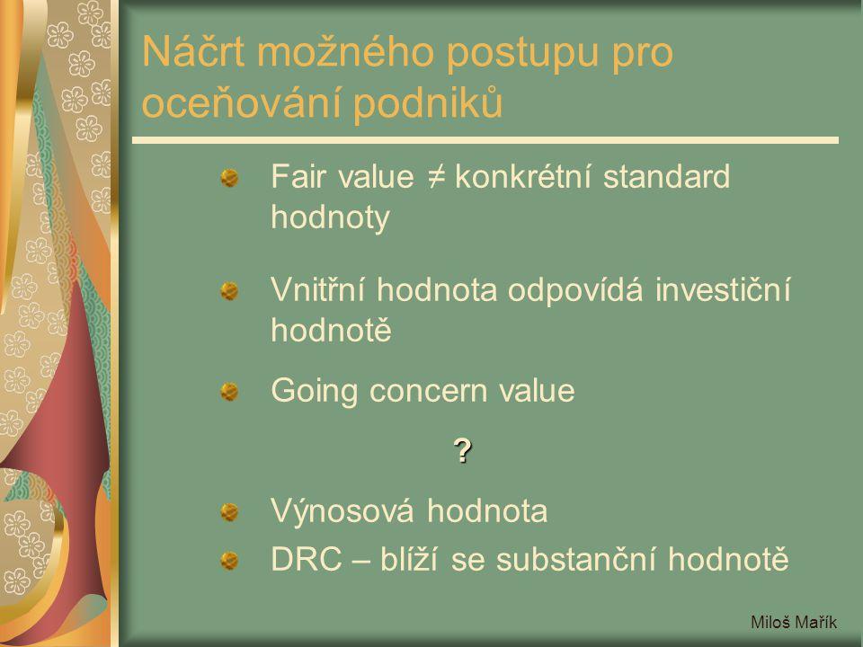 Miloš Mařík Náčrt možného postupu pro oceňování podniků Fair value ≠ konkrétní standard hodnoty Vnitřní hodnota odpovídá investiční hodnotě Going conc