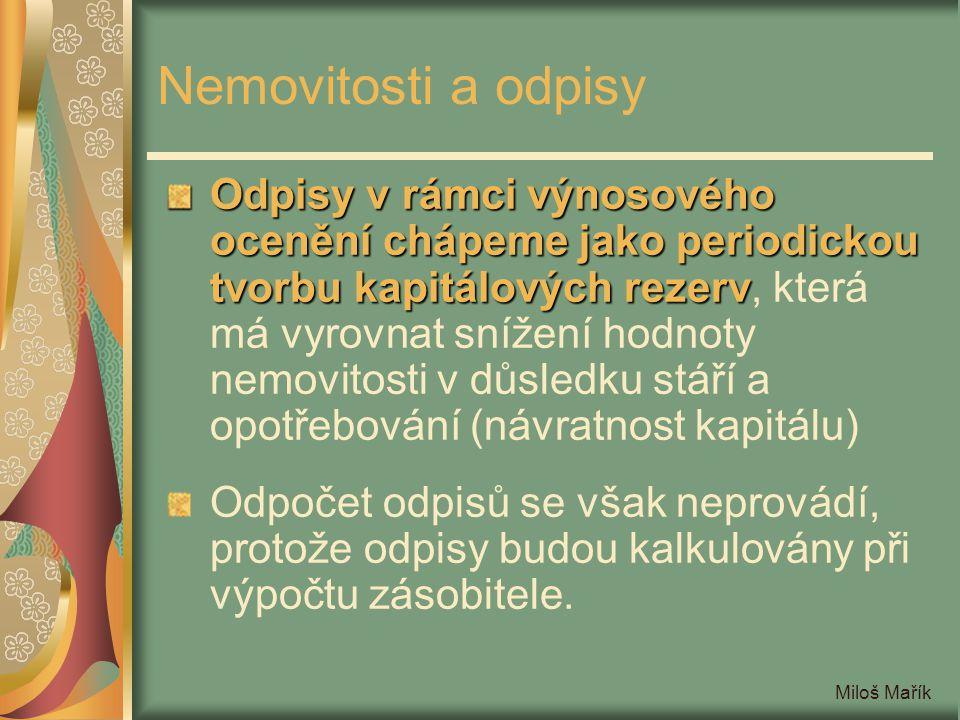 Miloš Mařík Nemovitosti a odpisy Odpisy v rámci výnosového ocenění chápeme jako periodickou tvorbu kapitálových rezerv Odpisy v rámci výnosového oceně