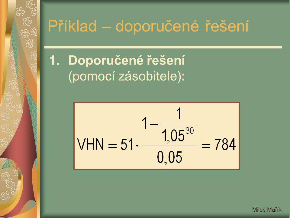 Miloš Mařík Příklad – doporučené řešení 1.Doporučené řešení (pomocí zásobitele):