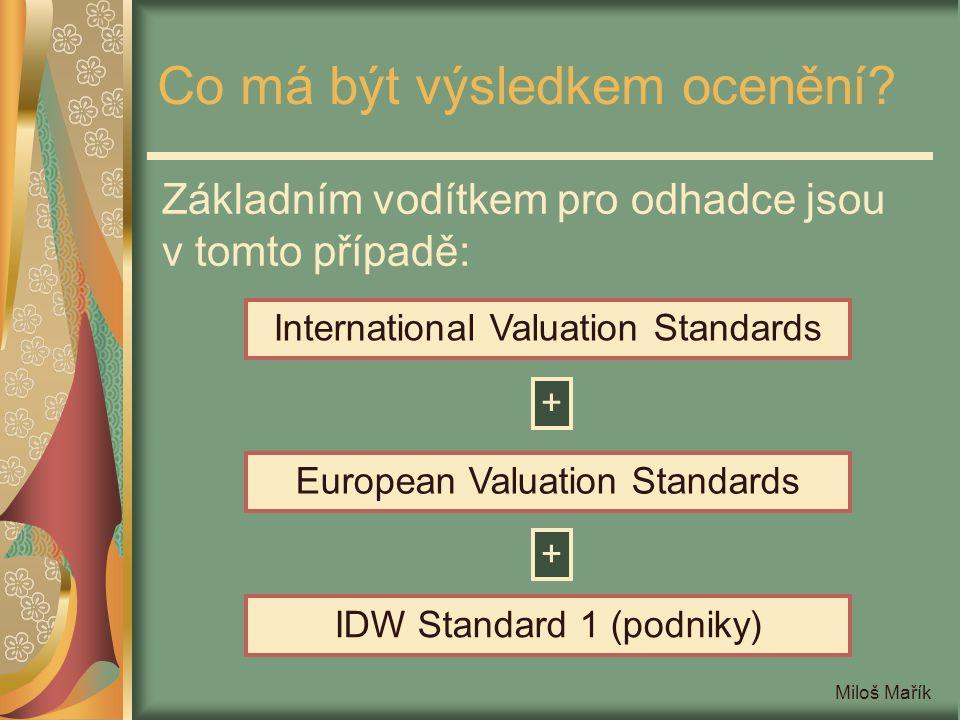 Miloš Mařík Mezinárodní oceňovací standardy Například IVS rozeznávají mimo tržní hodnoty ještě: hodnotu při stávajícím využití (value in use) hodnotu pokračujícího podniku (going concern) investiční hodnotu (investment value) pojistitelnou hodnotu (insurable value) hodnotu pro zdanění (assessed value) hodnotu zbytkového materiálu (salvage value) likvidační hodnotu (liquidation value) zvláštní hodnotu (special value)