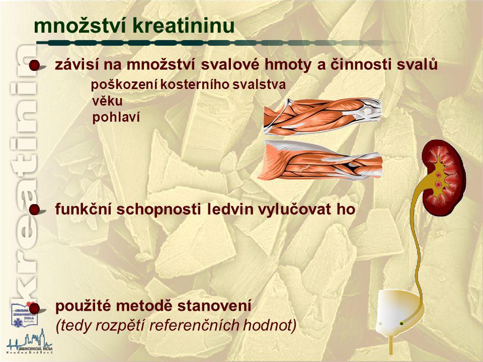 množství kreatininu závisí na množství svalové hmoty a činnosti svalů poškození kosterního svalstva věku pohlaví funkční schopnosti ledvin vylučovat h