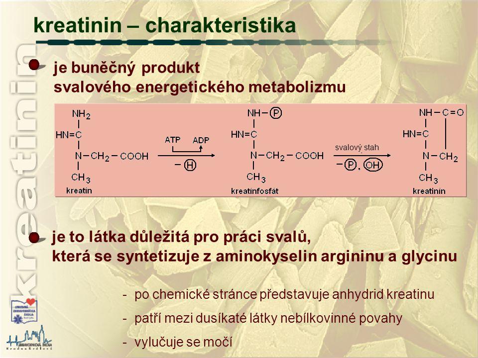 kreatinin – charakteristika - po chemické stránce představuje anhydrid kreatinu - patří mezi dusíkaté látky nebílkovinné povahy - vylučuje se močí je