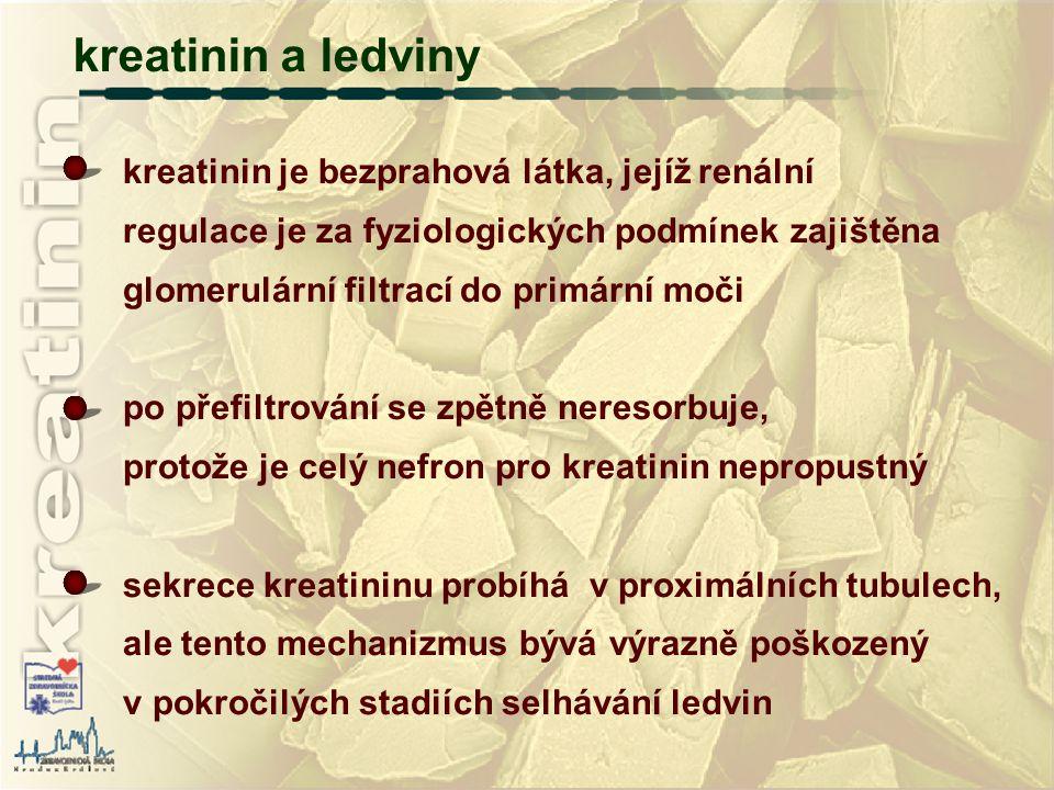 kreatinin je bezprahová látka, jejíž renální regulace je za fyziologických podmínek zajištěna glomerulární filtrací do primární moči po přefiltrování