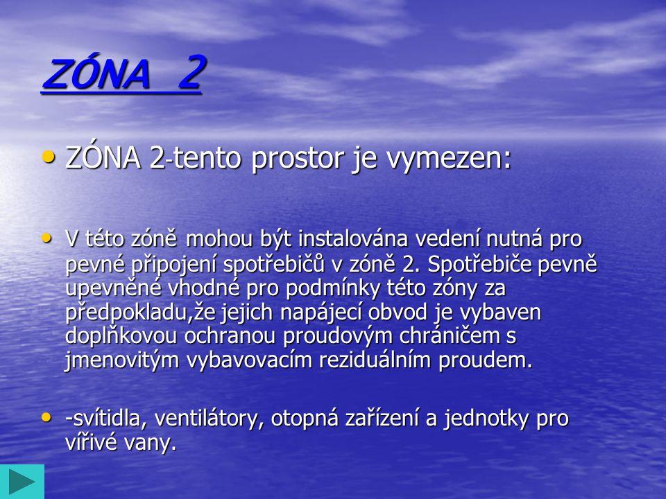 ZÓNA 2 • ZÓNA 2 - tento prostor je vymezen: • V této zóně mohou být instalována vedení nutná pro pevné připojení spotřebičů v zóně 2. Spotřebiče pevně