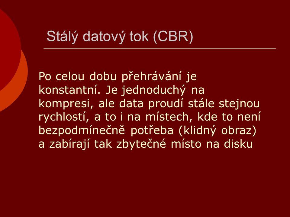 Stálý datový tok (CBR) Po celou dobu přehrávání je konstantní. Je jednoduchý na kompresi, ale data proudí stále stejnou rychlostí, a to i na místech,