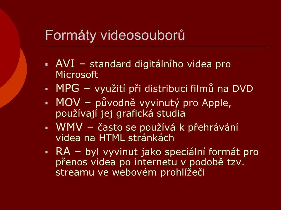 Formáty videosouborů  AVI – standard digitálního videa pro Microsoft  MPG – využití při distribuci filmů na DVD  MOV – původně vyvinutý pro Apple,
