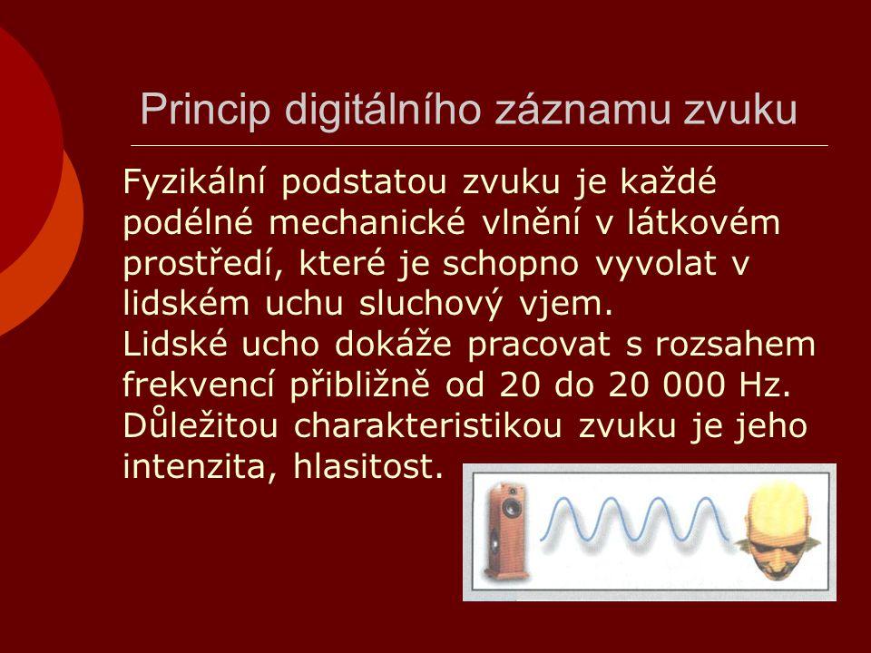 Princip digitálního záznamu zvuku Fyzikální podstatou zvuku je každé podélné mechanické vlnění v látkovém prostředí, které je schopno vyvolat v lidské