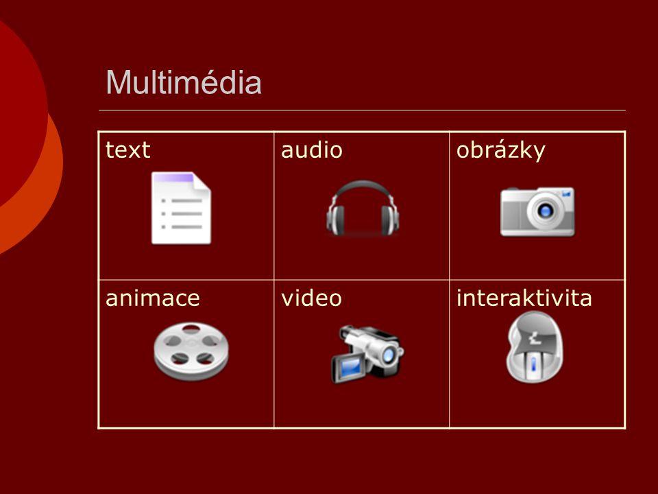 Multimédia textaudioobrázky animacevideointeraktivita