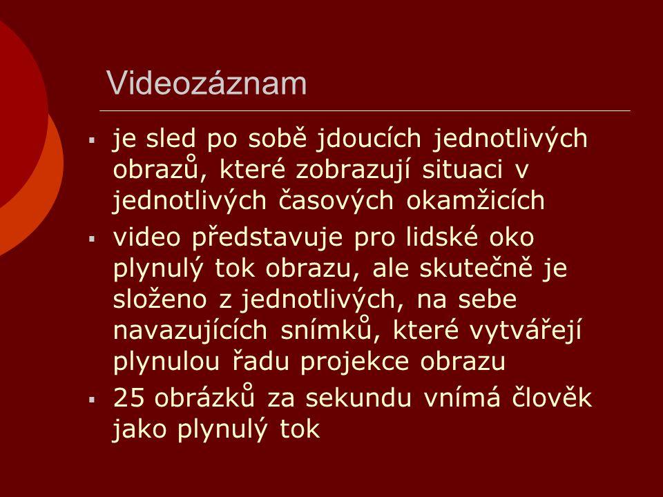 Videozáznam  je sled po sobě jdoucích jednotlivých obrazů, které zobrazují situaci v jednotlivých časových okamžicích  video představuje pro lidské