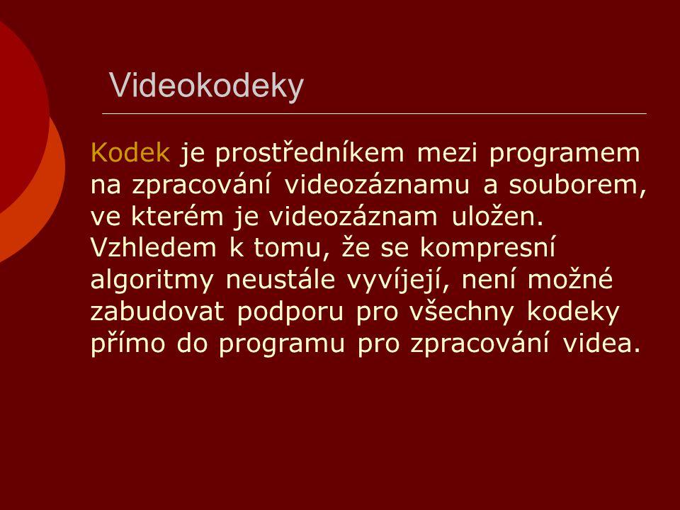 Videokodeky Kodek je prostředníkem mezi programem na zpracování videozáznamu a souborem, ve kterém je videozáznam uložen. Vzhledem k tomu, že se kompr