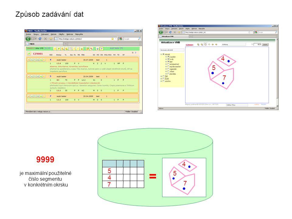 5 7 4 5 7 4 5 4 7 = Způsob zadávání dat 9999 je maximální použitelné číslo segmentu v konkrétním okrsku
