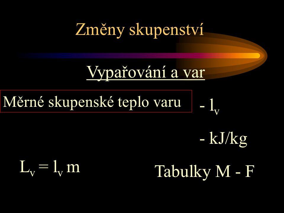 Změny skupenství Vypařování a var Měrné skupenské teplo varu Tabulky M - F - kJ/kg L v = l v m - l v