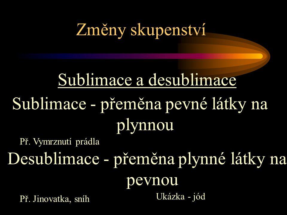 Změny skupenství Sublimace a desublimace Desublimace - přeměna plynné látky na pevnou Sublimace - přeměna pevné látky na plynnou Př. Vymrznutí prádla
