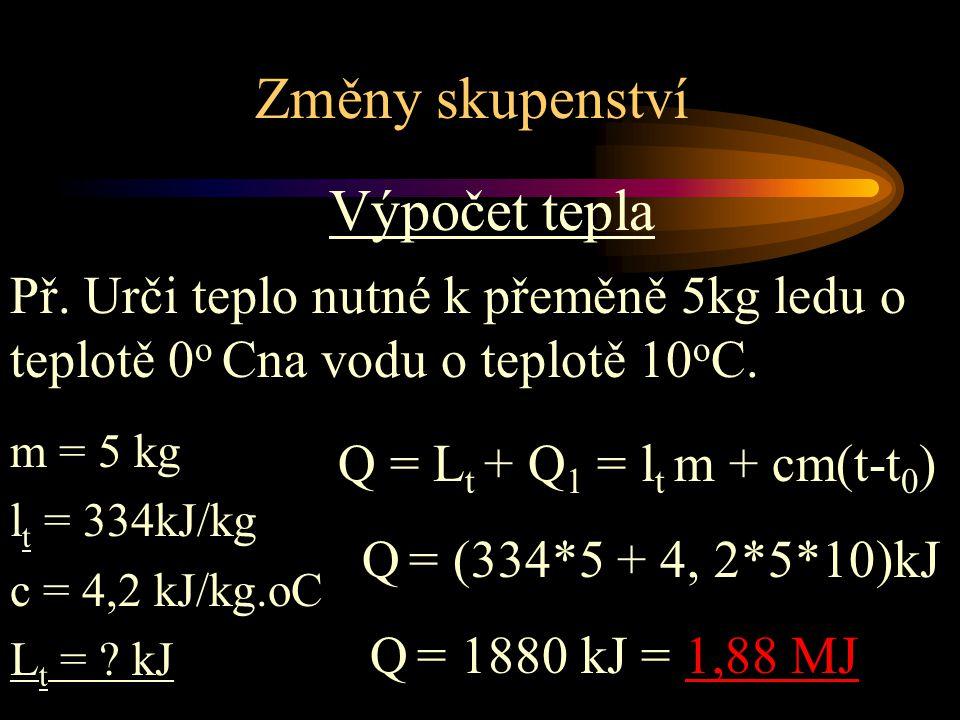 Změny skupenství Výpočet tepla m = 5 kg l t = 334kJ/kg c = 4,2 kJ/kg.oC L t = ? kJ Př. Urči teplo nutné k přeměně 5kg ledu o teplotě 0 o Cna vodu o te