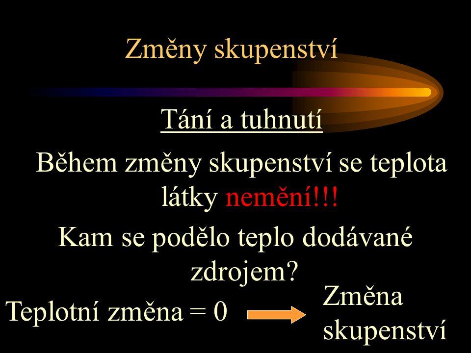 Změny skupenství Tání a tuhnutí Během změny skupenství se teplota látky nemění!!.
