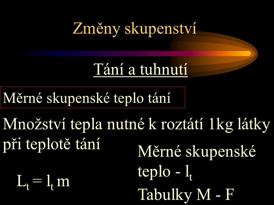 Změny skupenství Tání a tuhnutí m = 5 kg l t = 334kJ/kg L t = .