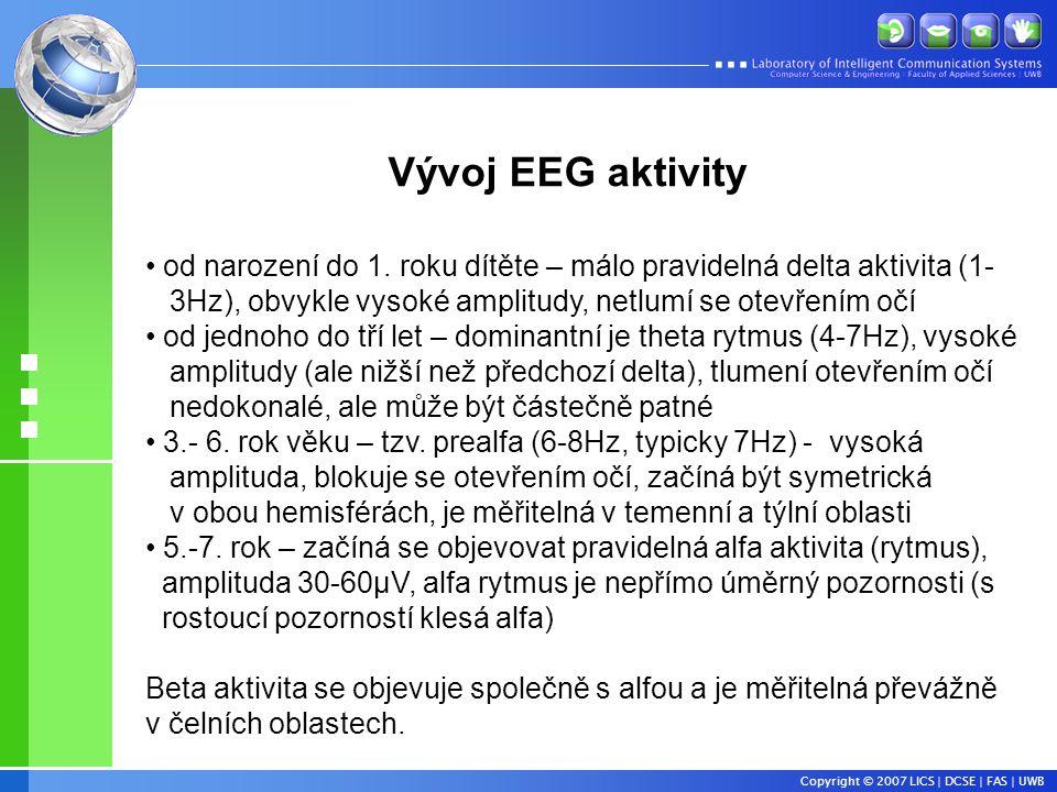 Copyright © 2007 LICS | DCSE | FAS | UWB Vývoj EEG aktivity • od narození do 1.