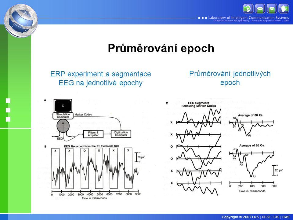 Copyright © 2007 LICS | DCSE | FAS | UWB ERP experiment a segmentace EEG na jednotlivé epochy Průměrování jednotlivých epoch Průměrování epoch