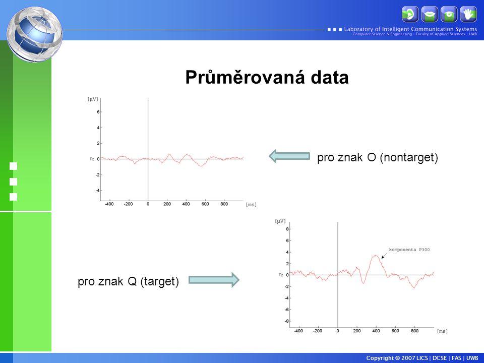 Copyright © 2007 LICS | DCSE | FAS | UWB Průměrovaná data pro znak O (nontarget) pro znak Q (target)
