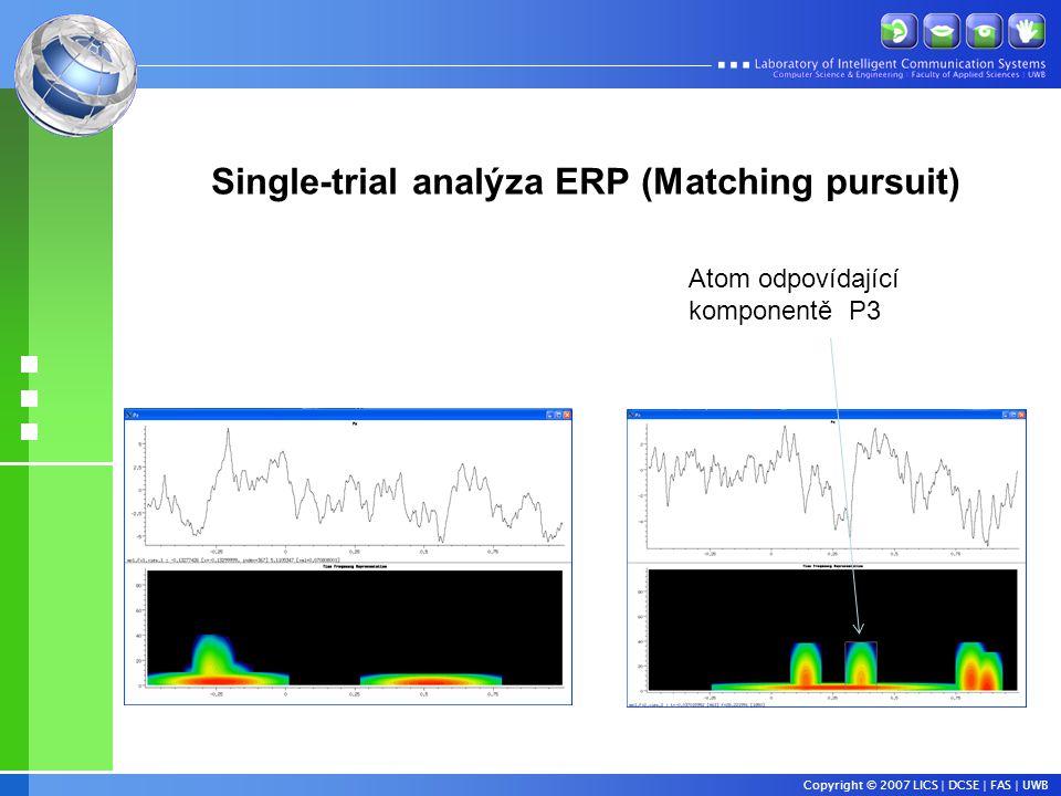 Copyright © 2007 LICS | DCSE | FAS | UWB Single-trial analýza ERP (Matching pursuit) Atom odpovídající komponentě P3