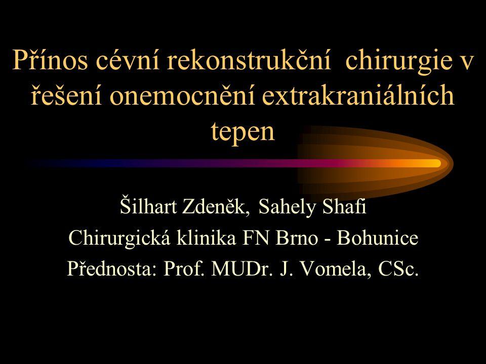 Přínos cévní rekonstrukční chirurgie v řešení onemocnění extrakraniálních tepen Šilhart Zdeněk, Sahely Shafi Chirurgická klinika FN Brno - Bohunice Přednosta: Prof.