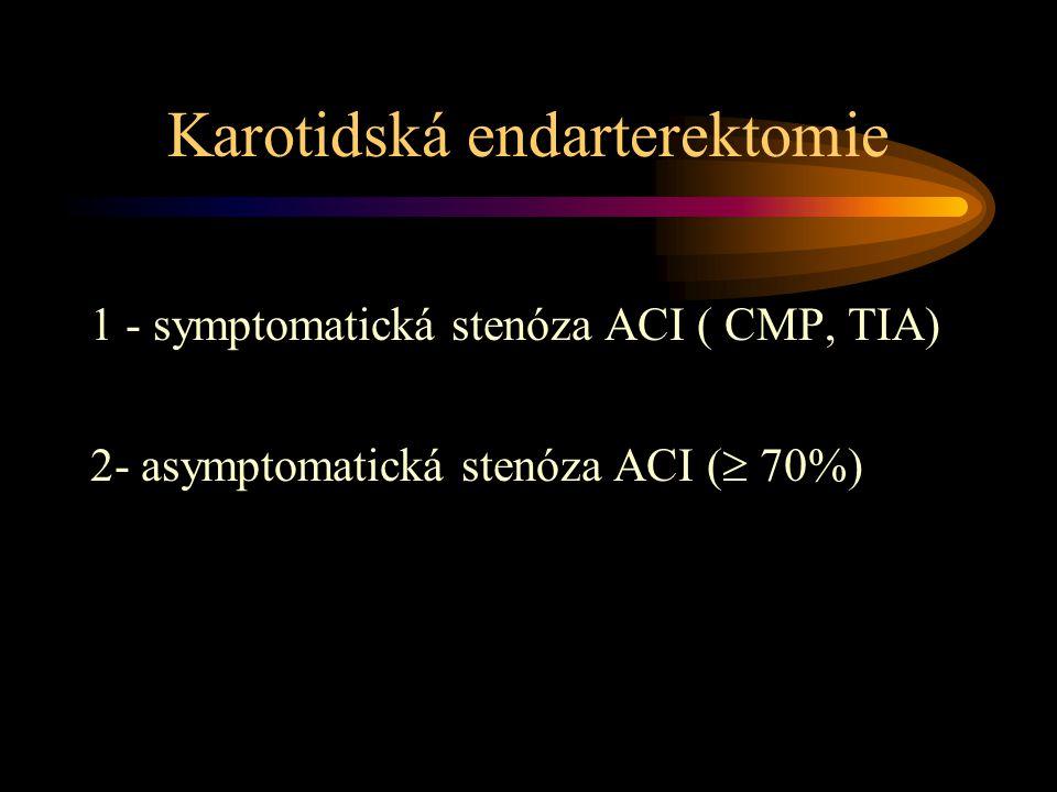 Karotidská endarterektomie 1 - symptomatická stenóza ACI ( CMP, TIA) 2- asymptomatická stenóza ACI (  70%)