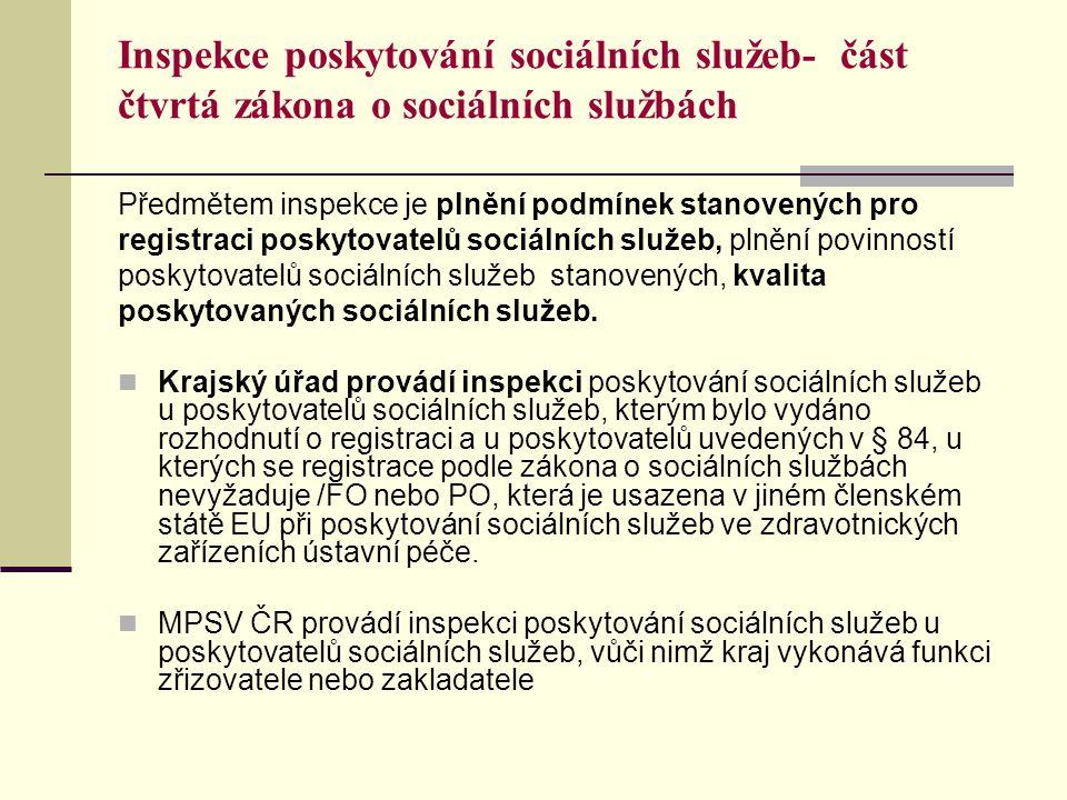 Inspekce poskytování sociálních služeb- část čtvrtá zákona o sociálních službách Předmětem inspekce je plnění podmínek stanovených pro registraci poskytovatelů sociálních služeb, plnění povinností poskytovatelů sociálních služeb stanovených, kvalita poskytovaných sociálních služeb.
