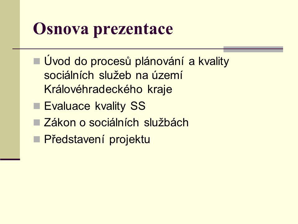 Osnova prezentace  Úvod do procesů plánování a kvality sociálních služeb na území Královéhradeckého kraje  Evaluace kvality SS  Zákon o sociálních službách  Představení projektu