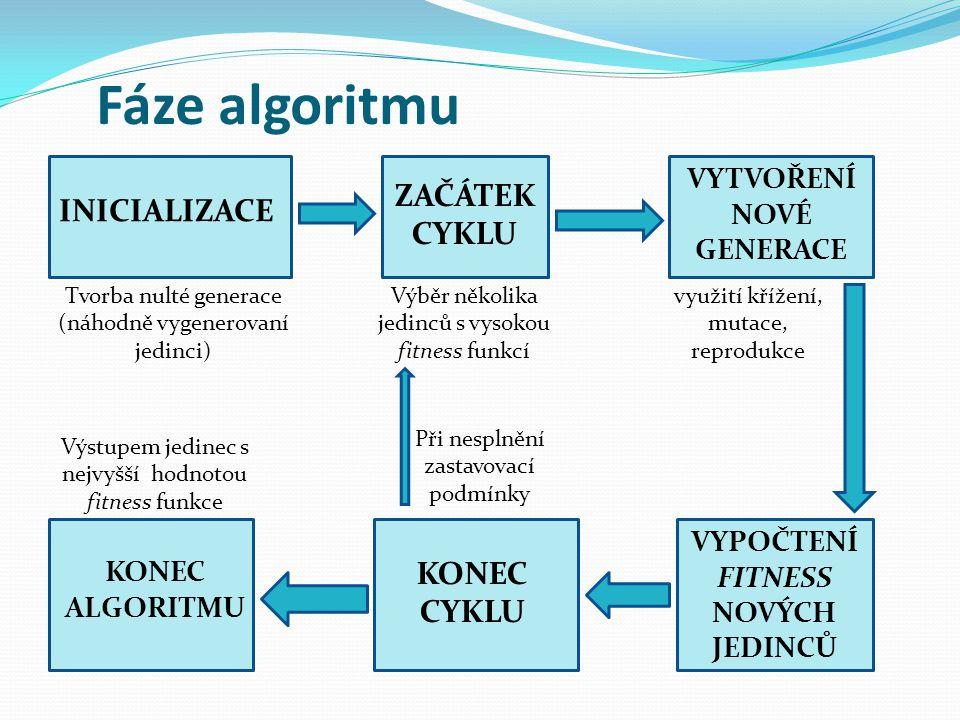 Fáze algoritmu INICIALIZACE ZAČÁTEK CYKLU VYTVOŘENÍ NOVÉ GENERACE VYPOČTENÍ FITNESS NOVÝCH JEDINCŮ KONEC CYKLU KONEC ALGORITMU Tvorba nulté generace (