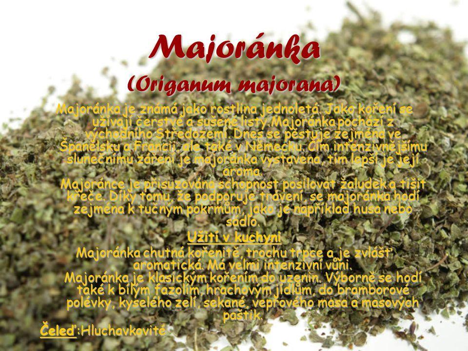 Majoránka (Origanum majorana) Majoránka je známá jako rostlina jednoletá. Jako koření se užívají čerstvé a sušené listy.Majoránka pochází z východního