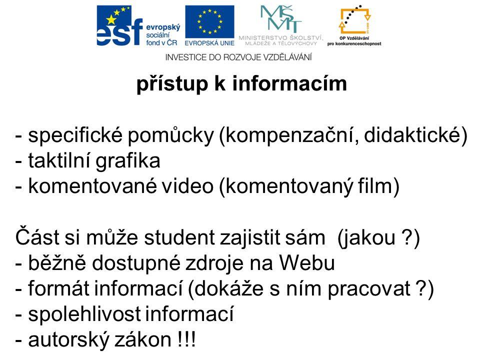 přístup k informacím - specifické pomůcky (kompenzační, didaktické) - taktilní grafika - komentované video (komentovaný film) Část si může student zaj