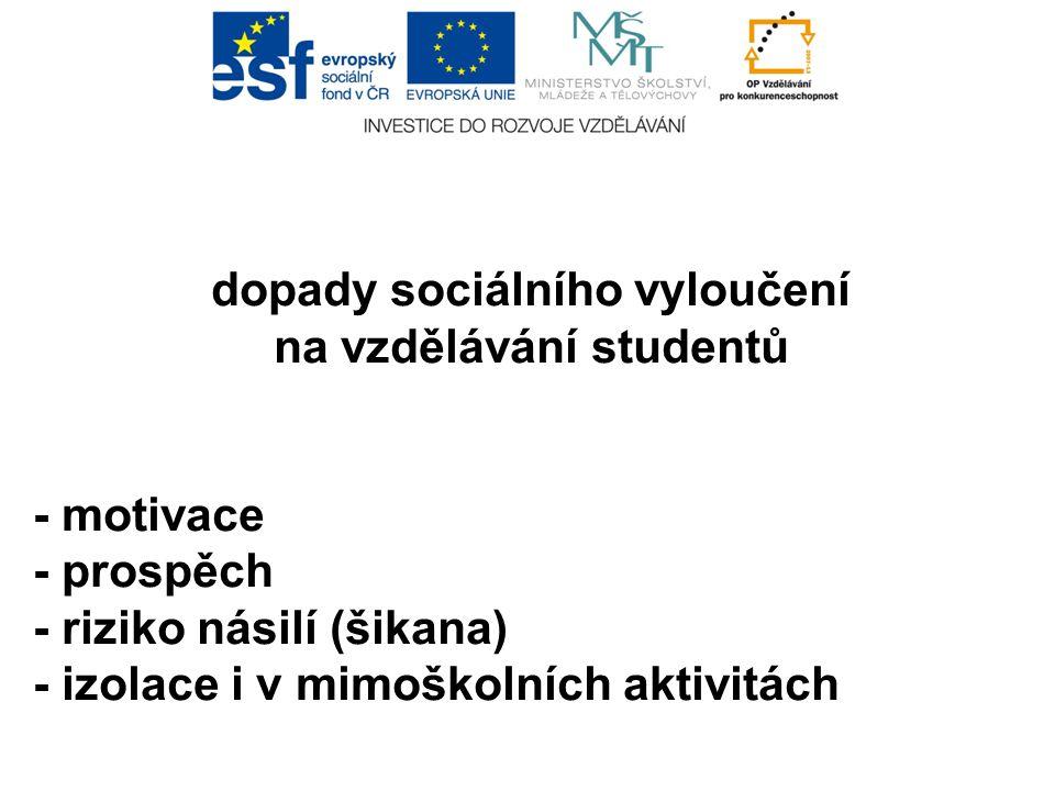 dopady sociálního vyloučení na vzdělávání studentů - motivace - prospěch - riziko násilí (šikana) - izolace i v mimoškolních aktivitách